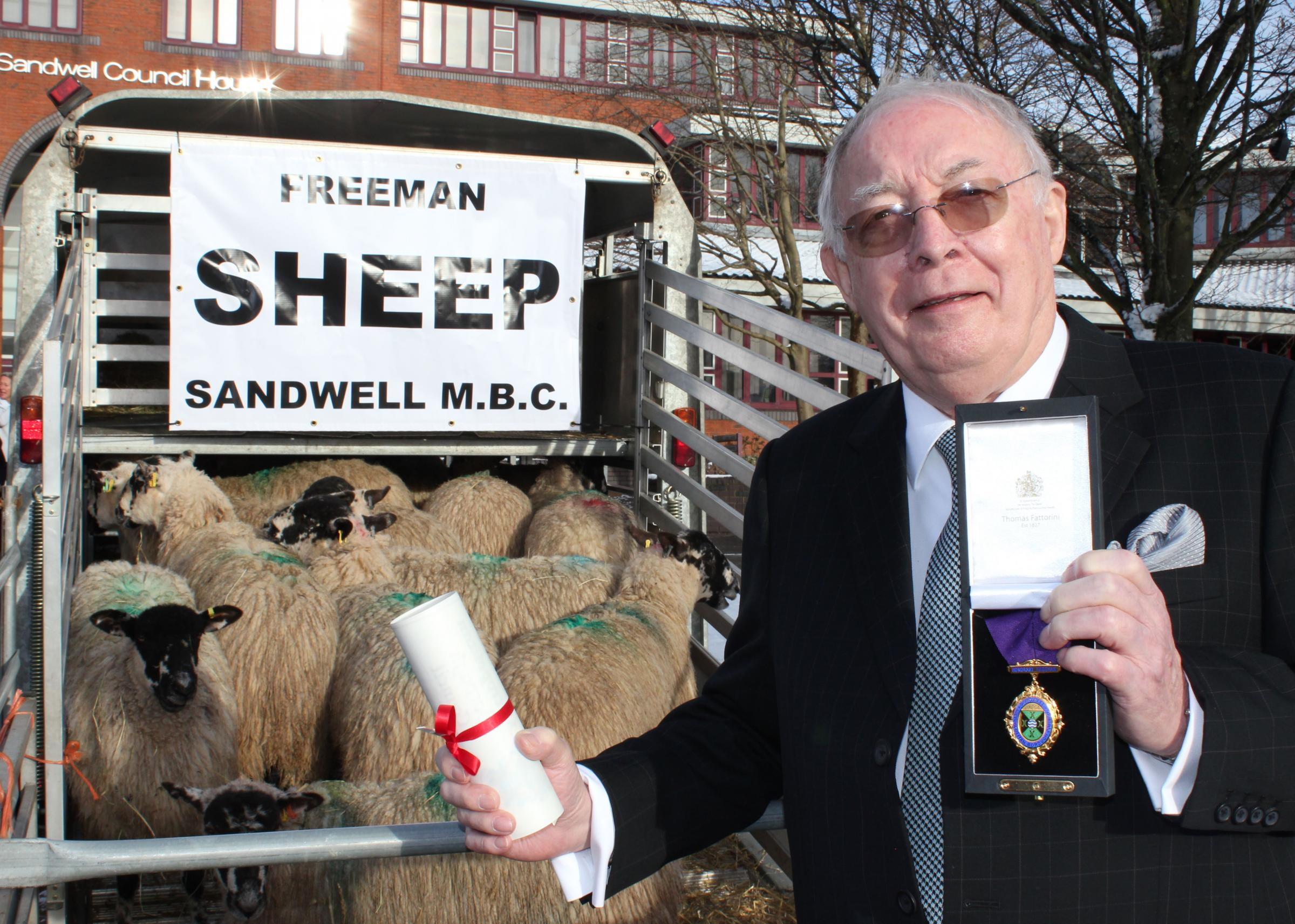 Oldbury businessman and philanthropist Dr Roy Richardson after being made an Honorary Freeman of Sandwell. Photo: Sandwell Council