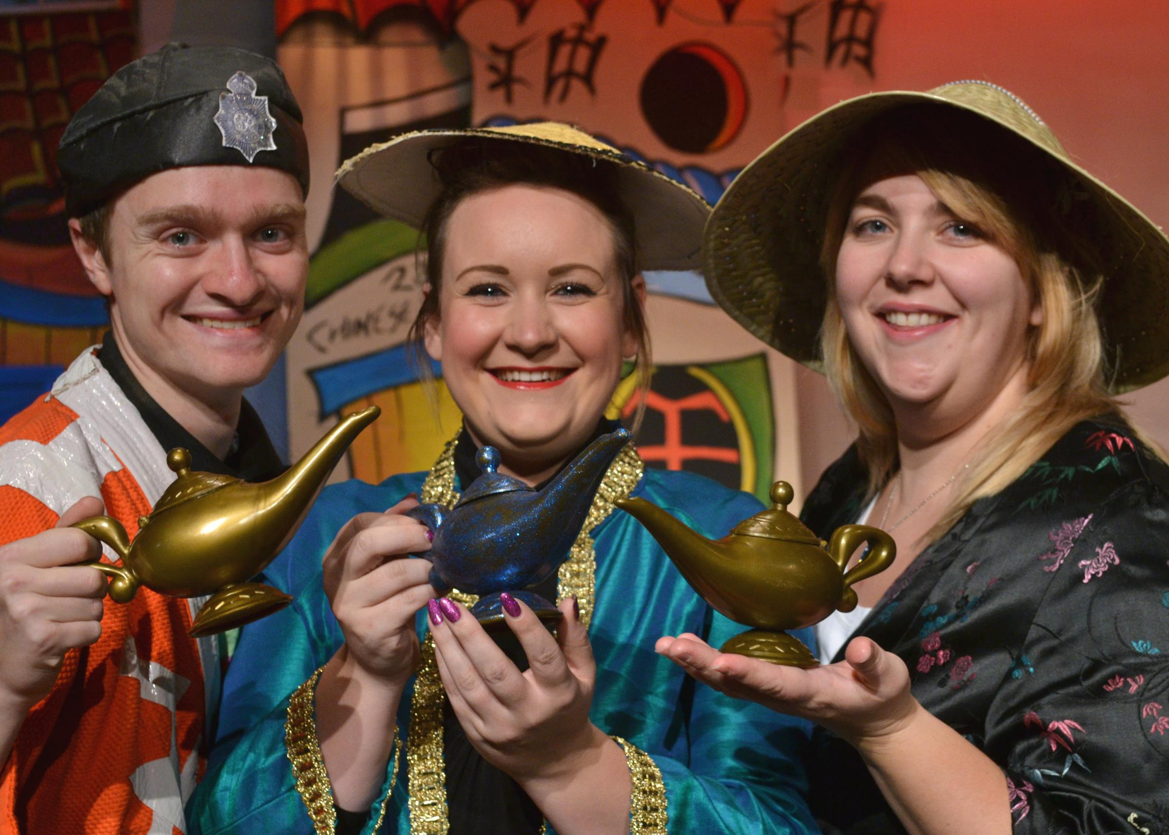 George Clayton (Wishee Washee), Natalie Forbes-Moore (Aladdin) and Fiona Robinson (Princess Jasmine) prepare for Aladdin at Oldbury Rep.
