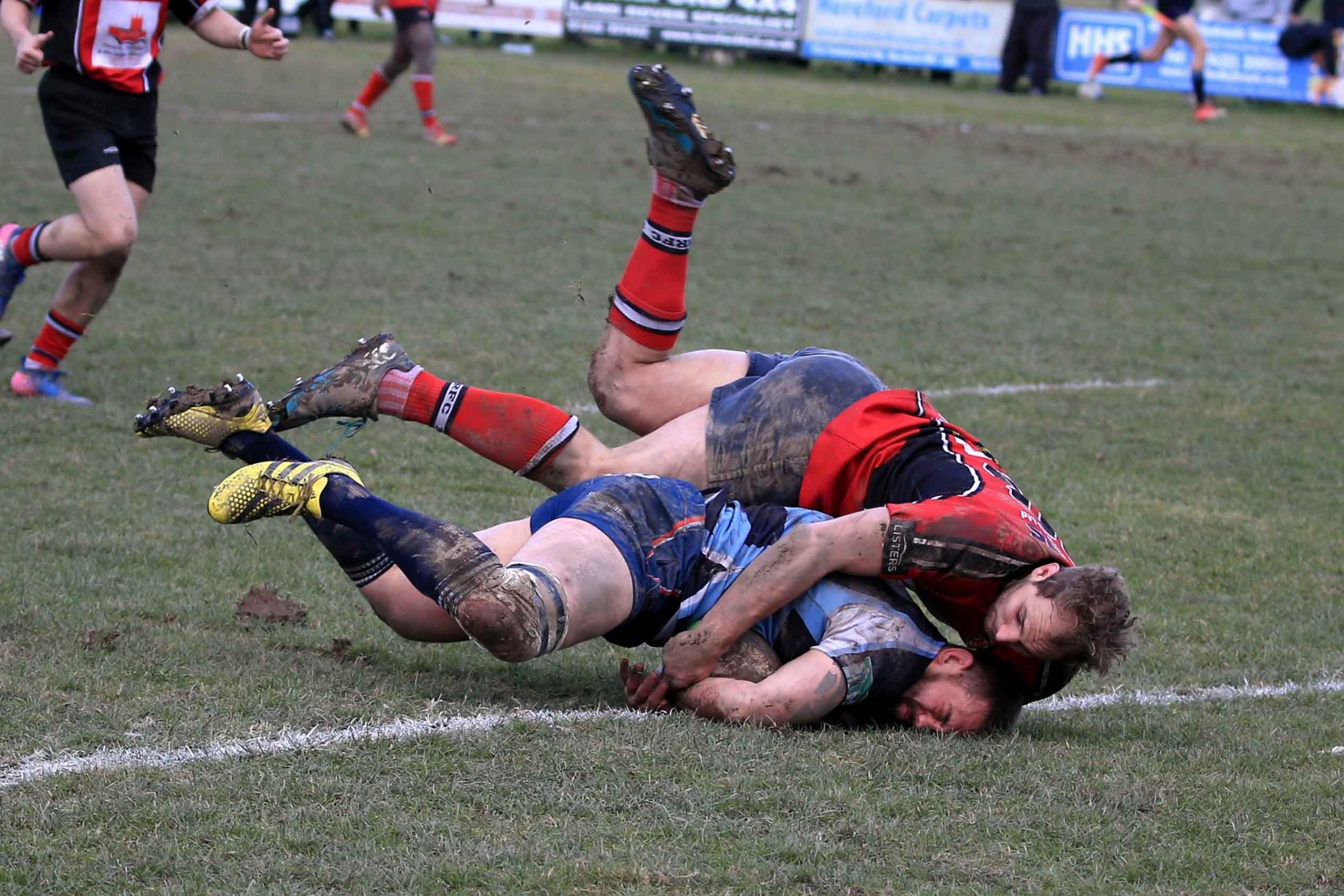 Stefan Shillingford dives for the goal line in Dudley Kingswinford's last game against Hereford. Photo: Ian Jackson