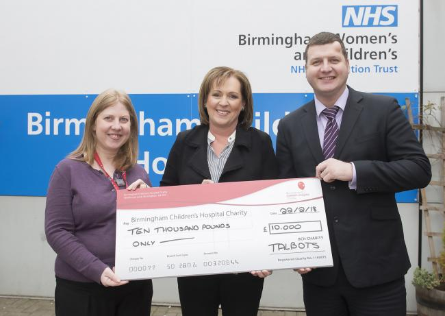 (l-r) Eloise Davidson (Birmingham Children's Hospital), Mary Mocklow and Ian Bond (both Talbots Law)