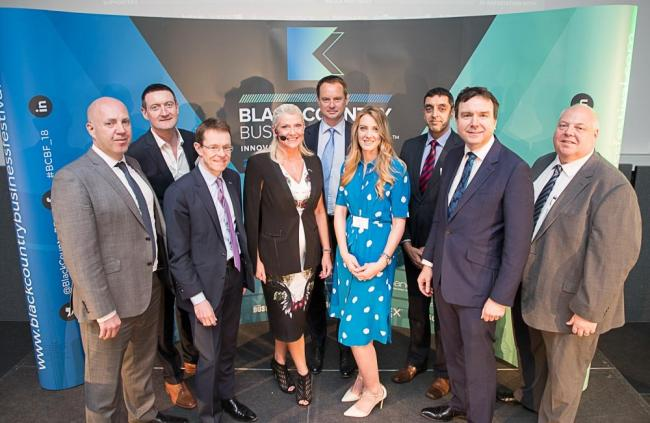 L-R: Corin Crane, CEO Black Country Chamber and Andy Street, West Midlands mayor, with business leaders from the region at the launch of the festival. Picture: Black Country Business Fesival