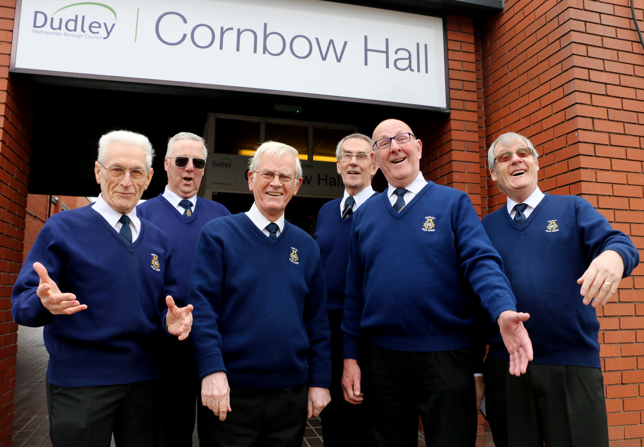 Warley Male Choir's John Larwood, Les Green, Brian Randle, Clive Bradley, Ron Sweetland and Brian Powney prepare for the 75th anniversary gala concert.