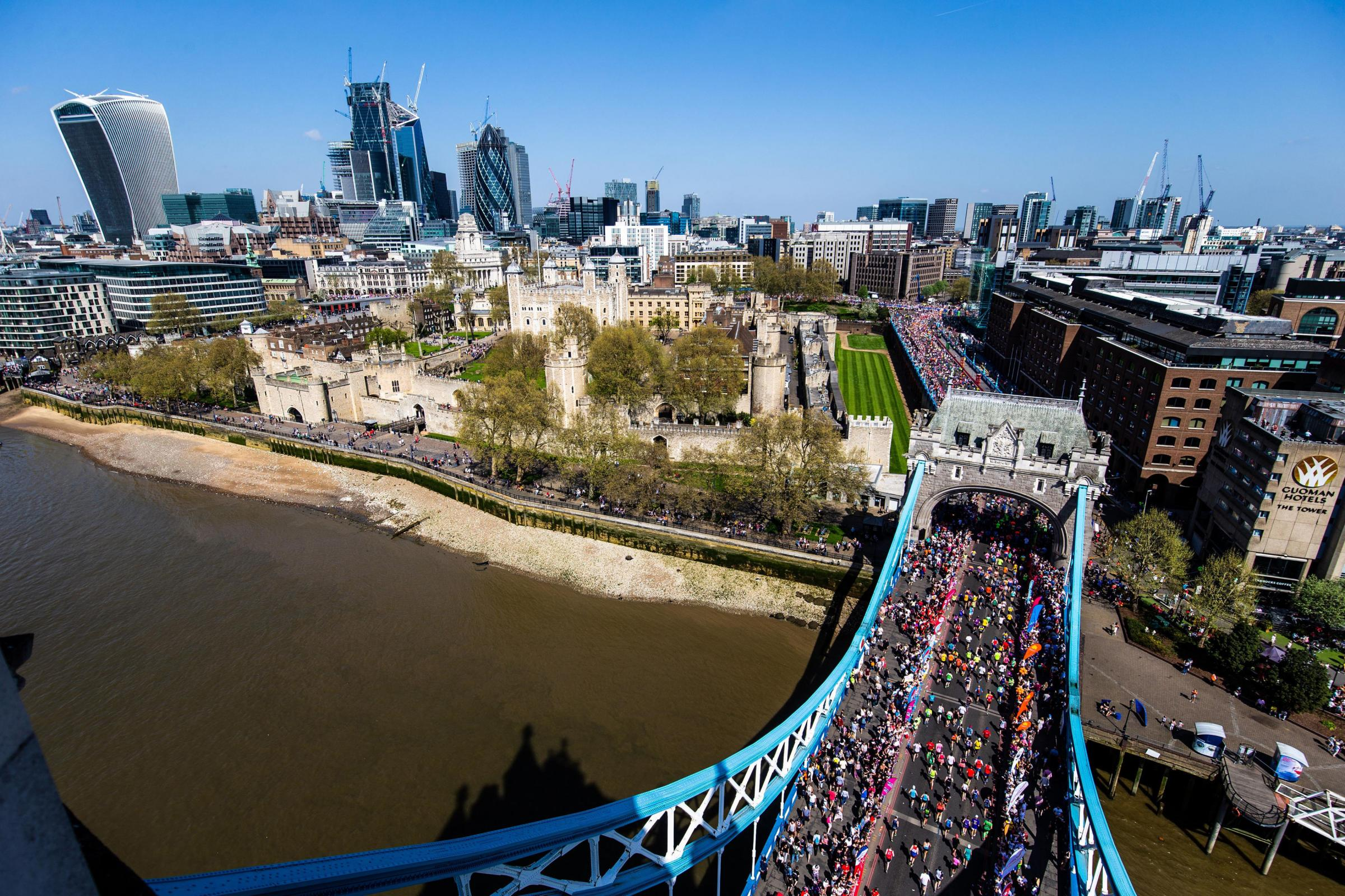 RACE: Runners going over Tower Bridge during the London Marathon. Picture: Steven Paston/PA.