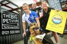 Blind Dave Heeley and dog Seamus join Darren Burke, from race sponsor the Big Pet Store, and race organiser Alan Bowler ahead of this year's Black Country Road Run in Halesowen.