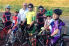James Carver MEP alongside up-and-coming cyclists at the Halesowen track, campaigning for an indoor velodrome.