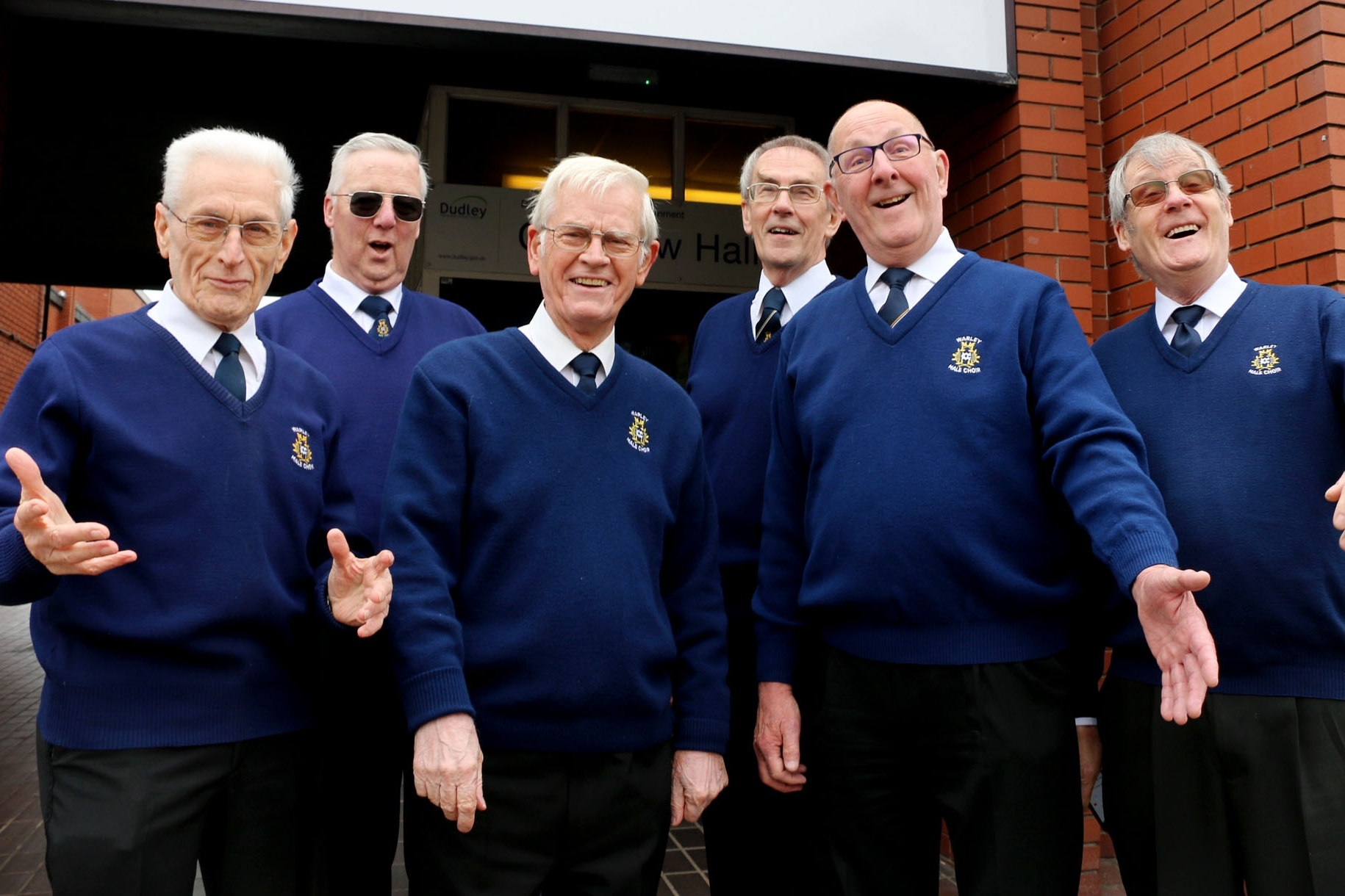 Warley Male Choir's John Larwood, Les Green, Brian Randle, Clive Bradley, Ron Sweetland and Brian Powney.