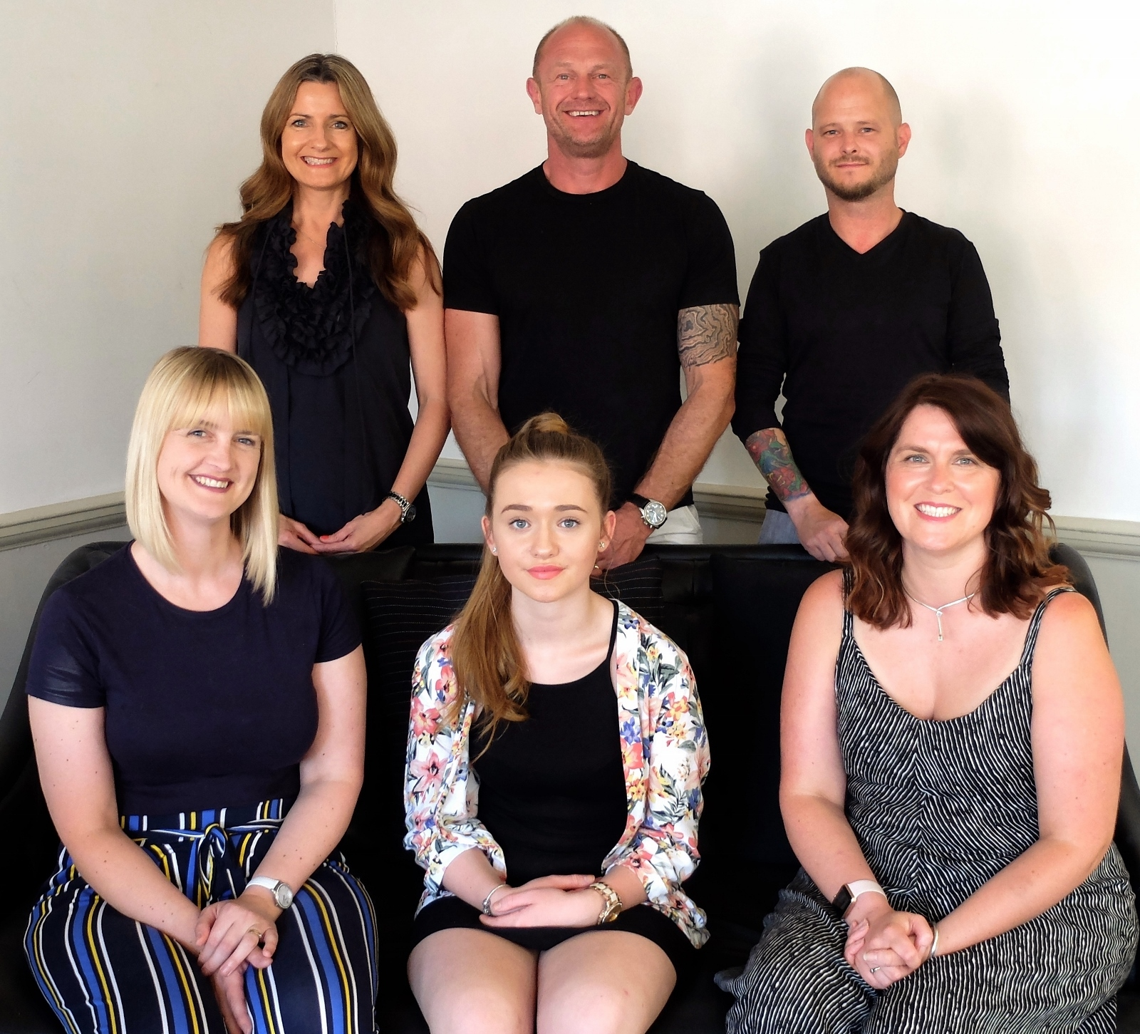 (Back L-R) Allison and Nick Ford & Adrian Arnold. (Front L-R) Zoe Tilley, Chloe Beard and Helena Williams
