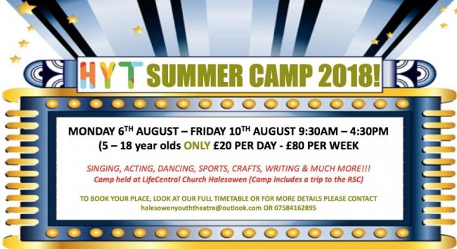 Halesowen Youth Theatre is hosting its first ever performing arts summer camp for four to 19-year-olds.