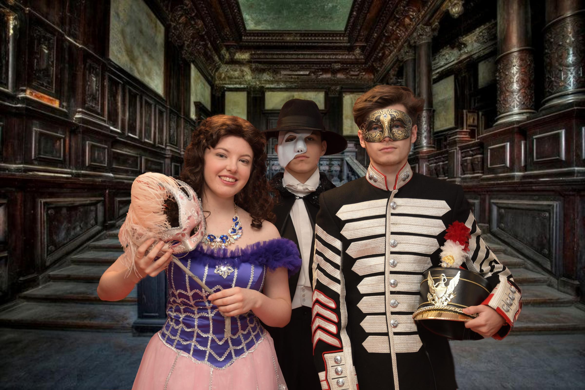L-r - Alex Cooper as Christine Daaé, Oliver Keeling as Raoul, and Alex Cook as the Phantom.
