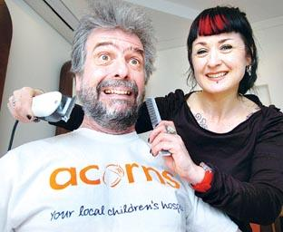 FUND-RAISING: Archaeologist James Dinn with his barber Pauline Luckman. Picture by John Anyon. (12175601)