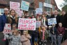 Protestors gathered at Little Colliers Neighbourhood Nursery to show their opposition to it's proposed closure. Picture: Phil Loach