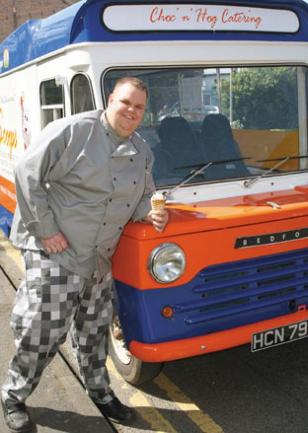 Food to go: David Sidwell and the classic 1969 Bedford ice cream van, which he restored.