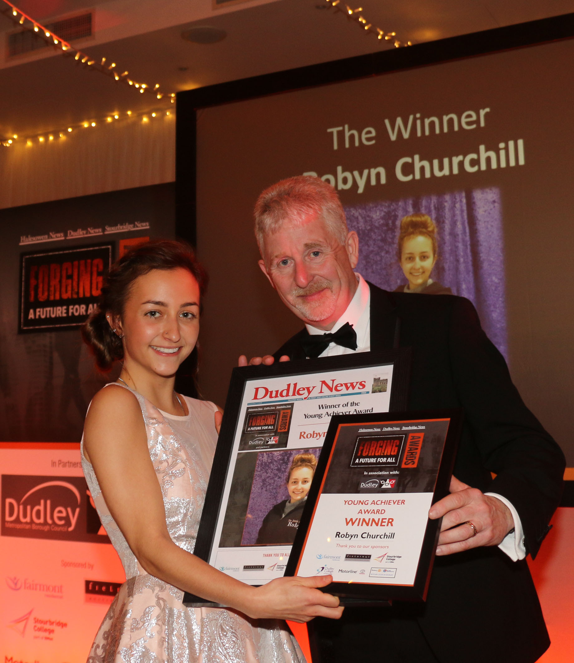 Winner of the Young Achiever award Robyn Churchill with principal of Dudley College Lowell Williams