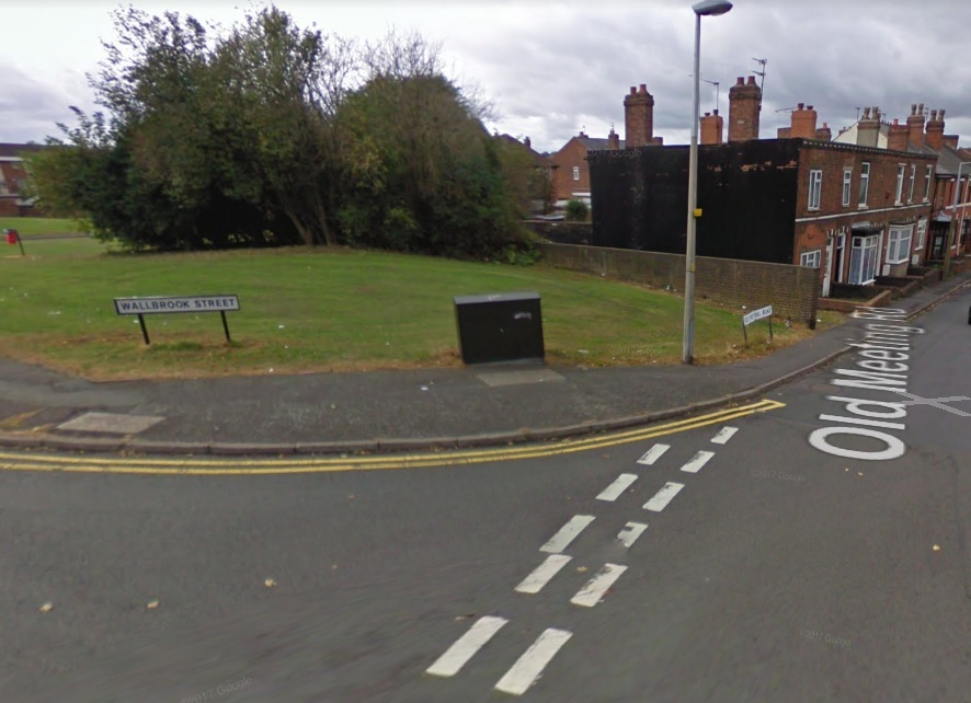 The hit and run took place at the junction of of Wallbrook Street and Old Meetings Road in Coseley. Photo: Google Maps.