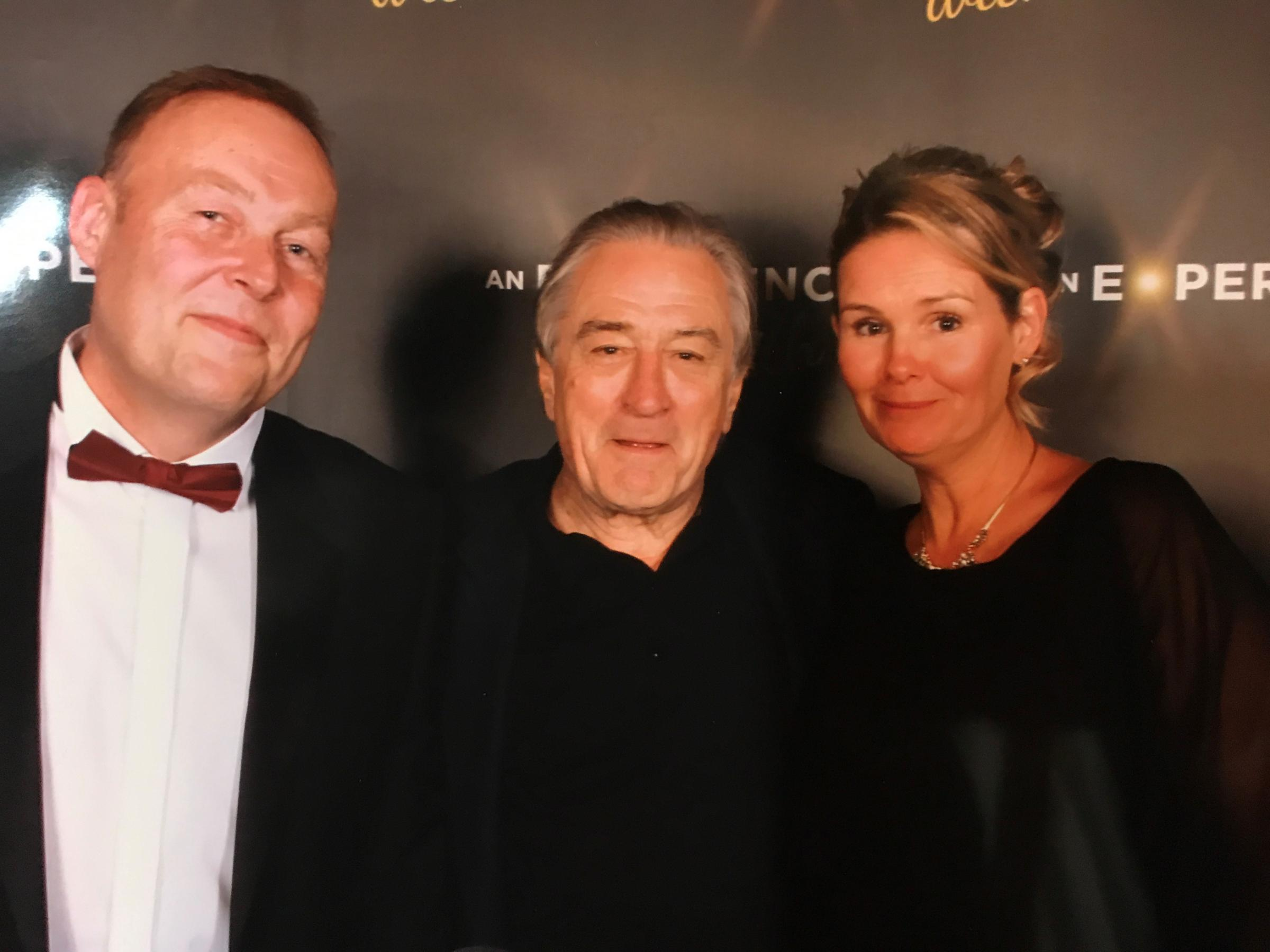 Warren and Sarah Evans from Base Studios with actor Robert DeNiro. Picture: Base Studios