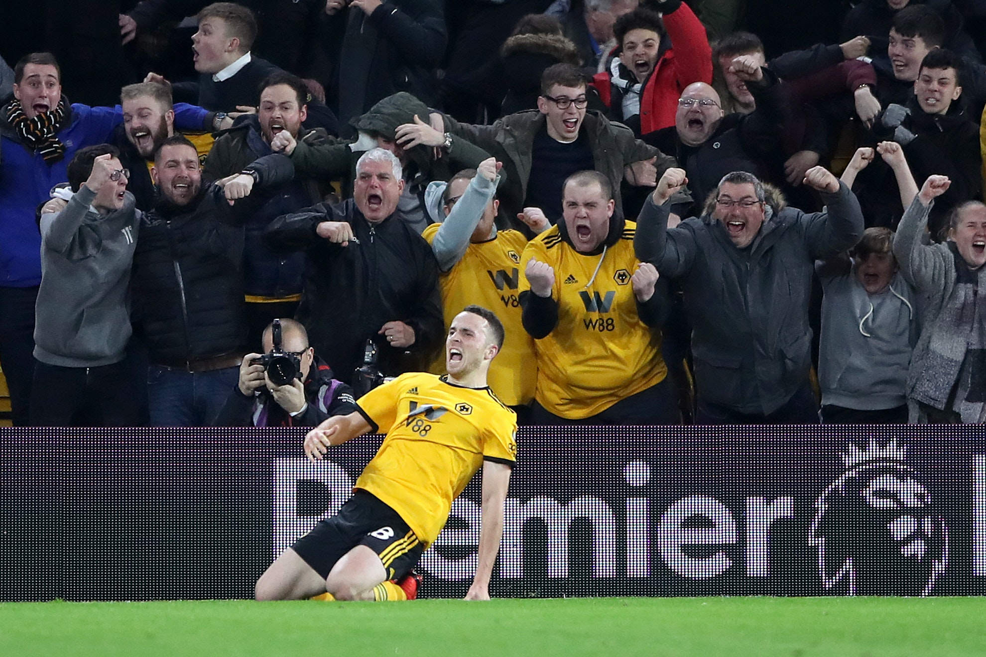 Diogo Jota celebrates his winner in Wolves' 2-1 victory over Chelsea