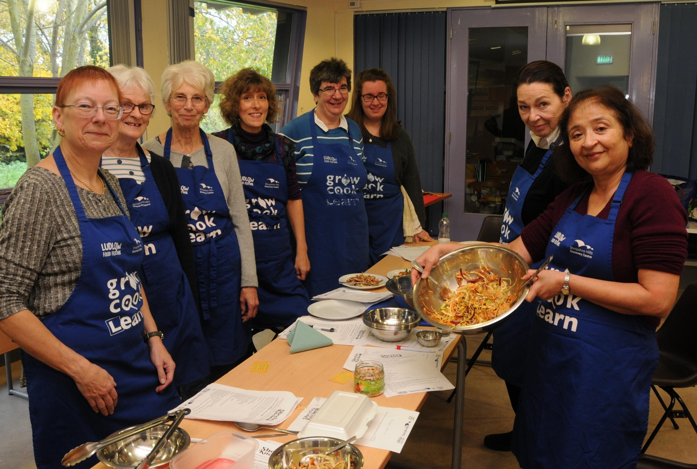 Sheela Udeshi (right) with the particpants of the Thai Cookery course at Shropshire Hills Disocvery Centre.