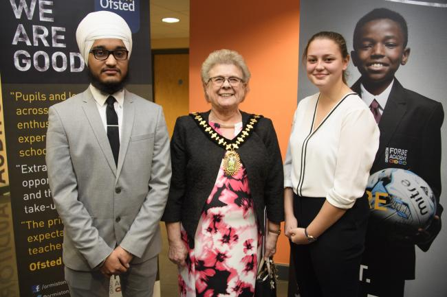 Pictured: (left to right): Vikramjeet Singh (head boy), Mayor of Sandwell, councillor Joy Edis, Lauren Southall (head girl)