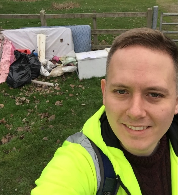 Christopher Blake with the rubbish he cleaned up at Saltwells Nature Reserve.