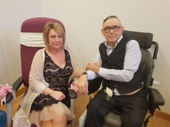 MARRIED: Janet and Steve Pearce got married at the Worcestershire Royal Hospital