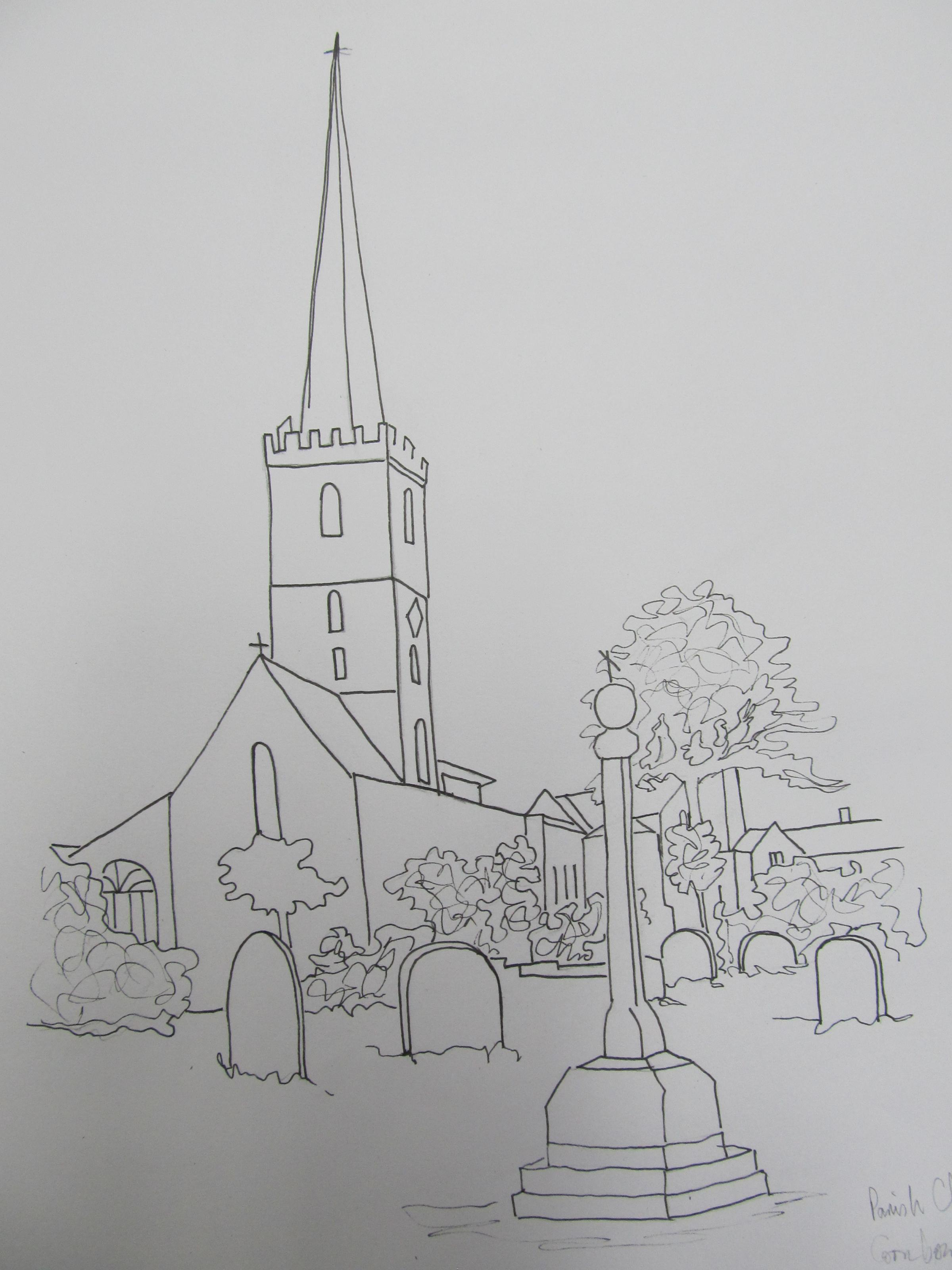 A sketch of one of the mosaics that features the landmark St John's Church in Halesowen town centre.