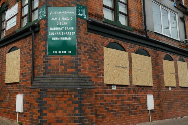 The Jam-E-Masjid Qiblah Hadhrat Sahib Gulhar Shareef mosque on Slade Road in Erdington which has had its windows smashed with a sledgehammer. Picture: Aaron Chown/PA Wire