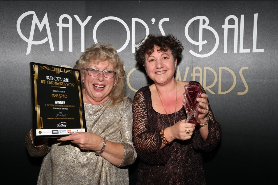 Glenys Lloyd and Tina Oliva-Parry from Arts Space - winner of the Cedric Hardwicke award for art.