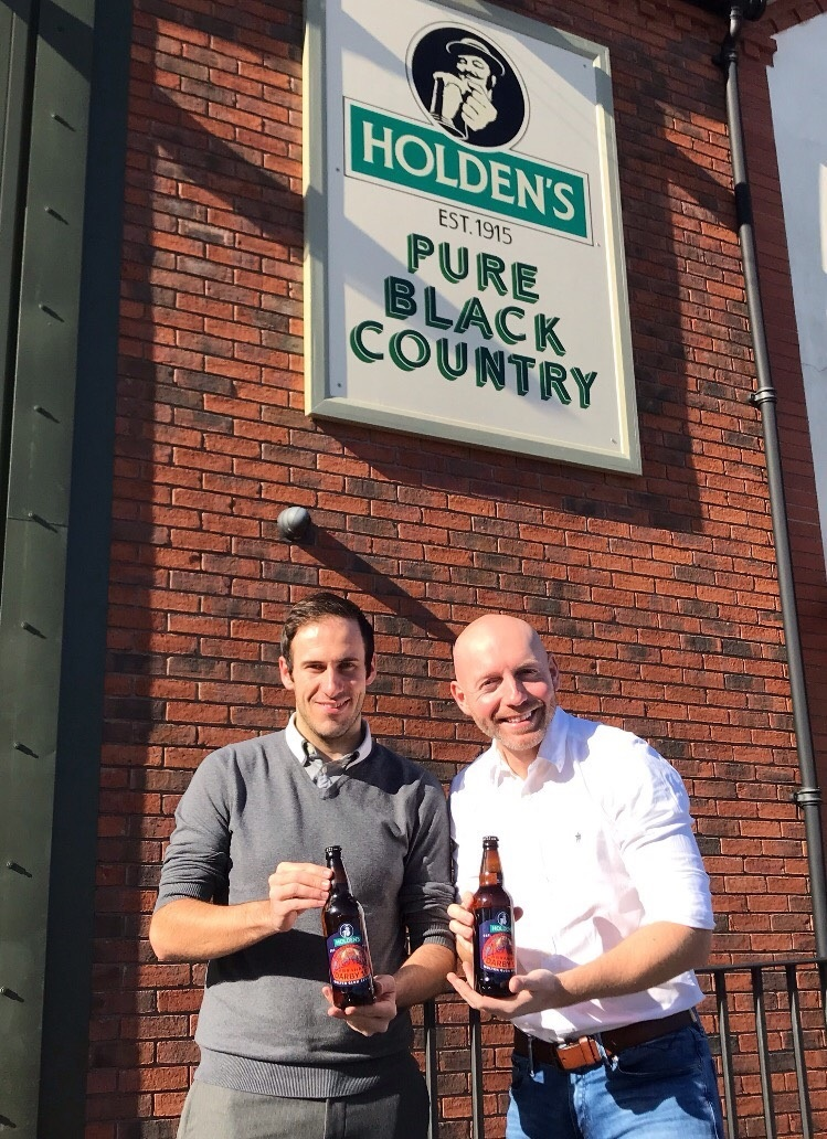 Councillors Kieran Casey and Adam Aston outside the Holden's Brewery in Woodsetton.