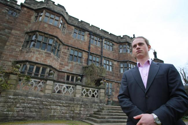 James Armstrong at Caverswall Castle where he is competing for a £20,000 prize in an Apprentice-style business contest.