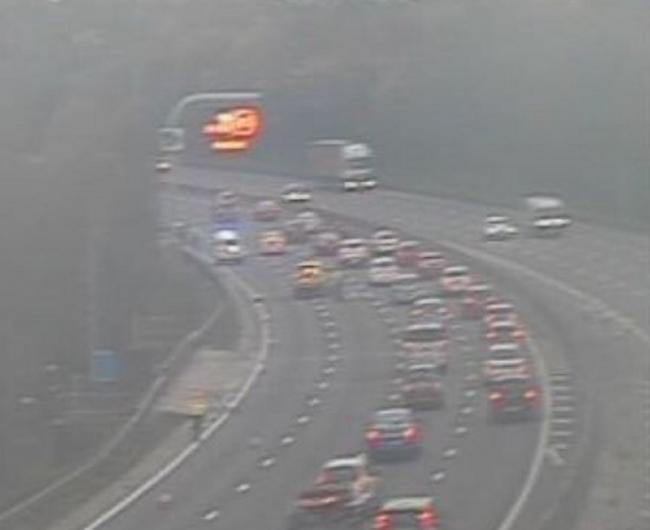 CRASH: The queues on the M5 near the crash. Picture: West Midlands Alerts