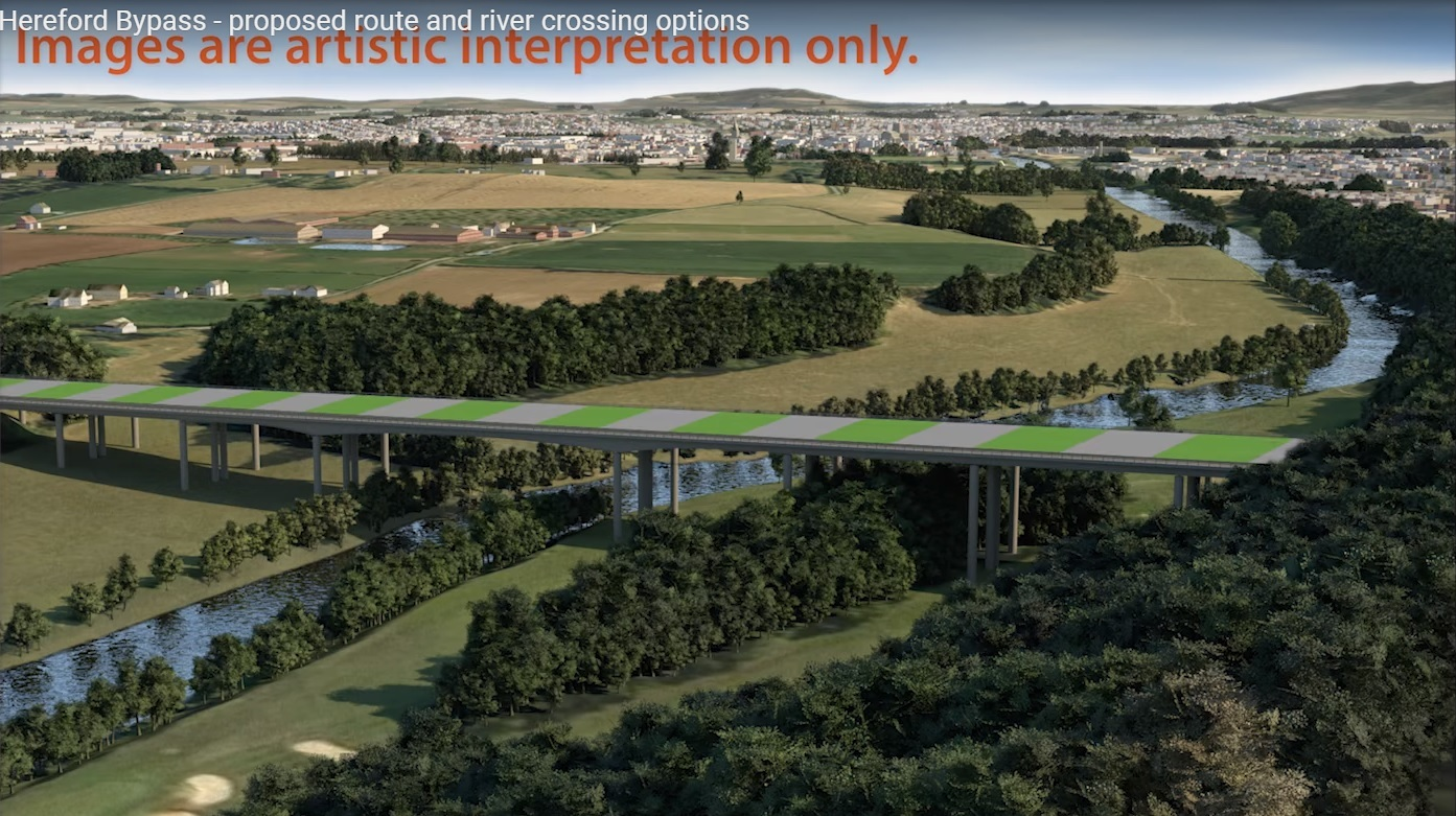 How the bridge would look across the river for the Hereford bypass