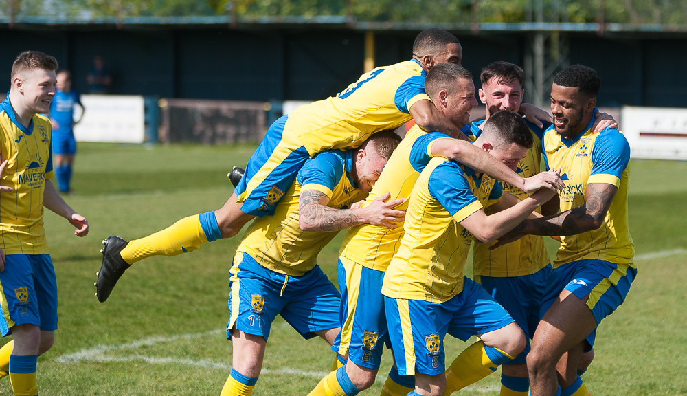 Tividale players celebrate against Bridgnorth. Photo by Martin Jamieson.
