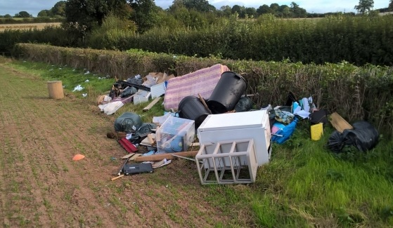 The waste that was fly tipped in a Clehonger field. Photo: Herefordshire Council.