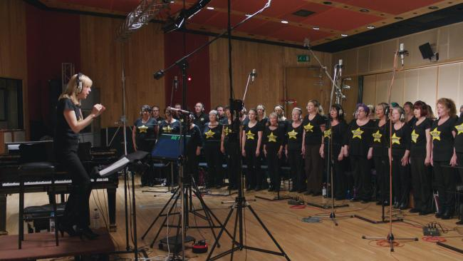 The Rock Choir recording their part for Susan Boyle's new album. Picture: The Rock Choir