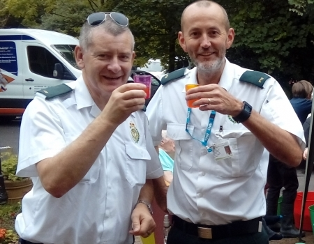 Ian Oxley and Chris Lloyd, from the PTS Kidderminster Ambulance, at Hollyfields Care Home