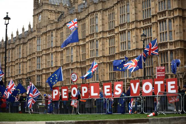 BREXIT: Anti Brexit supporters outside the Houses of Parliament in 2018. Pic. Dan Kitwood.