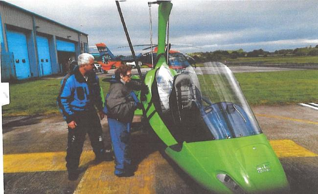 Mary Law, aged 83, gets ready to take to the skies in the gyropcopter.