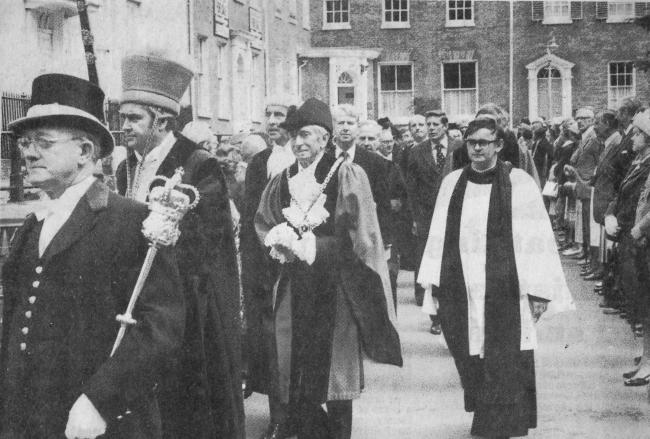 TODAY'S picture from the Worcester News archive dates back to June 1980, when the city's annual civic service was taking place. The mayor, Albert Wilks, is seen taking part in the procession, which was notable that year because it was the first